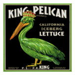 KING PELICAN ICEBERG LETTUCE VINTAGE CRATE LABEL POSTERS