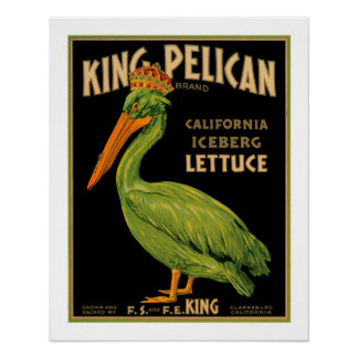 King Pelican Lettuce Produce Crate Label - Poster