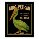 King Pelican Lettuce Produce Crate Label - Poster2 Poster