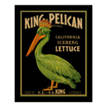 King Pelican Lettuce Produce Crate Label - Poster2