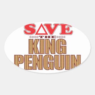 King Penguin Save Oval Sticker
