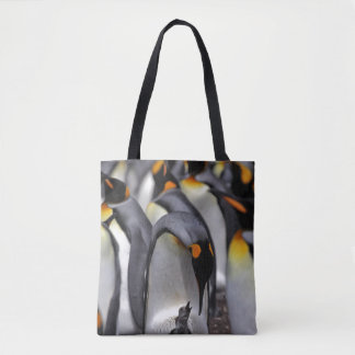 King penguin with chick tote bag