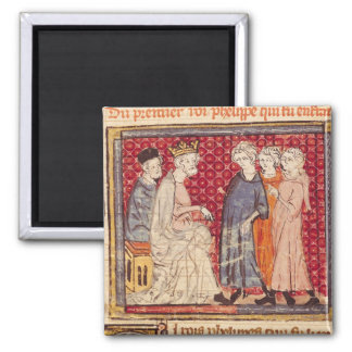 King Philippe I , Grandes Chroniques de France 2 Inch Square Magnet