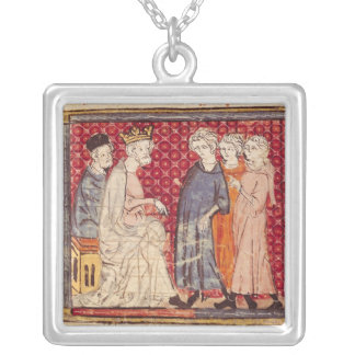 King Philippe I , Grandes Chroniques de France Silver Plated Necklace