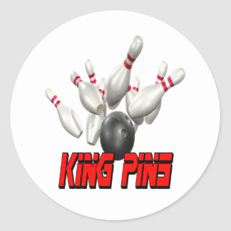 King Pins Bowling Classic Round Sticker