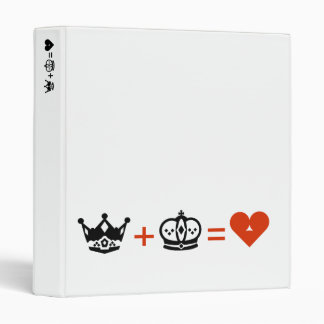 king plus queen equals love 3 ring binder