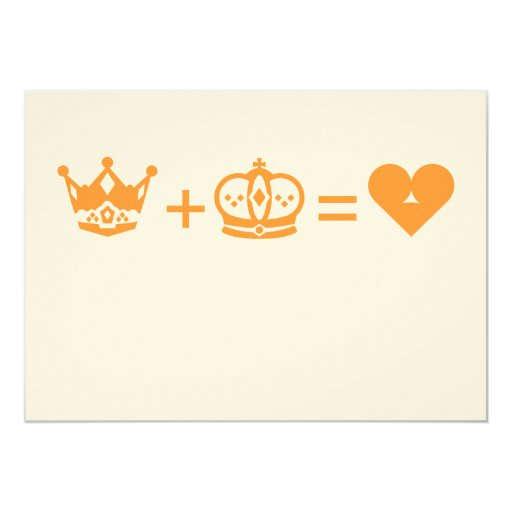 king plus queen equals love 5x7 paper invitation card