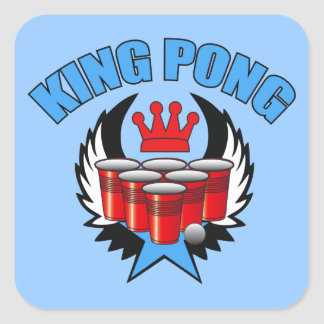 King Pong 2 - Beer Pong Square Sticker
