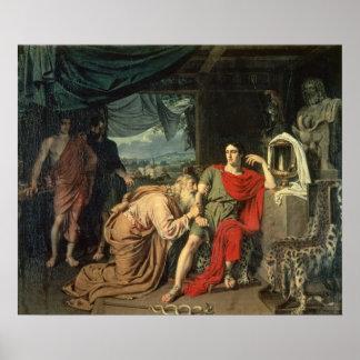 King Priam begging Achilles for return of Poster