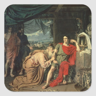 King Priam begging Achilles for return of Square Sticker