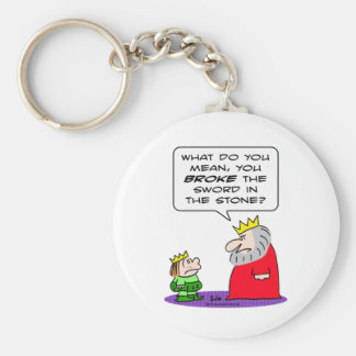 king prince broke sword in stone basic round button keychain