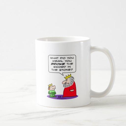 king prince broke sword in stone coffee mug