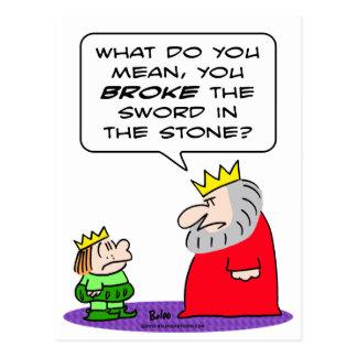 king prince broke sword in stone postcard