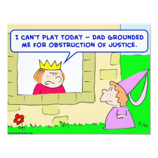 """king prince grounded obstruction justice 4.25"""" x 5.5"""" invitation card"""