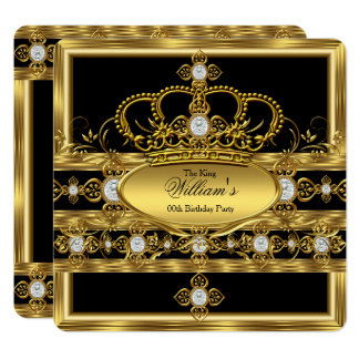 King Prince Queen Royal Gold Diamond Crown Party Card