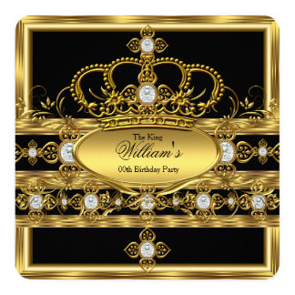 King Prince Queen Royal Gold Diamond Crown Party 5.25x5.25 Square Paper Invitation Card