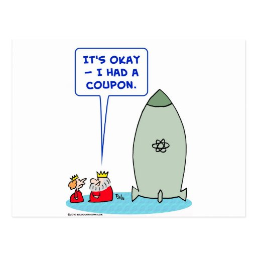 king queen bomb atomic coupon postcard