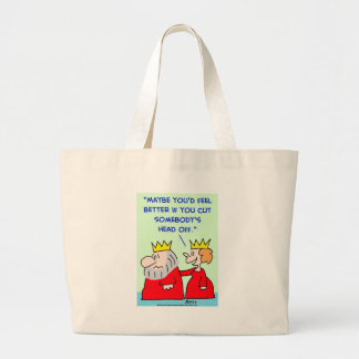 king queen cut head off tote bags