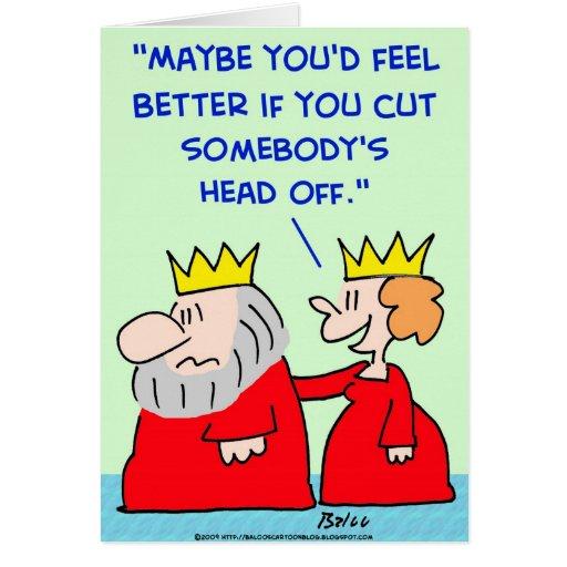 king queen cut head off greeting card