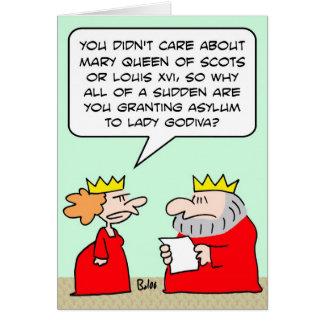 king queen grant asylum lady godiva card
