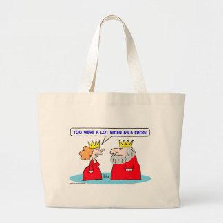 king queen nicer frog tote bag