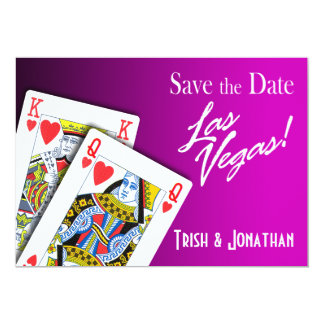 King & Queen of Hearts Las Vegas Wedding purple Card