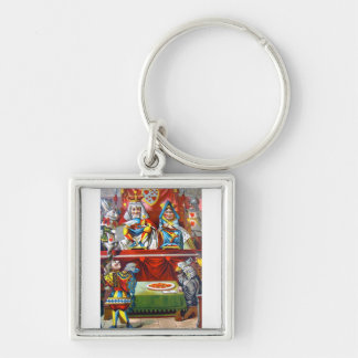 King & Queen of Hearts - The Knave of Hearts Trial Silver-Colored Square Keychain