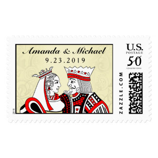 King & Queen Playing Cards Custom Wedding Postage