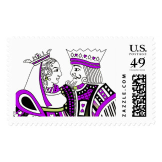 King & Queen Playing Cards Lavender Lime White Postage