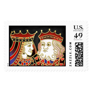 King & Queen Playing Cards Matching Postage Stamp