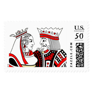 King & Queen Playing Cards Red Black White Stamp