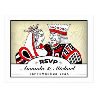 King & Queen Playing Cards RSVP Matching Postcard