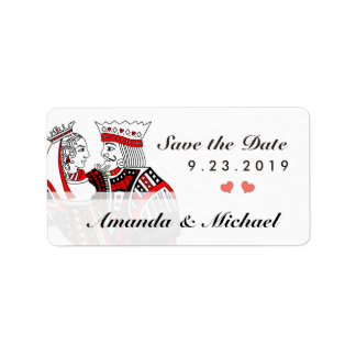 King & Queen Playing Cards Save the Date Label