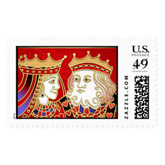 King & Queen Playing Red Cards Matching Postage