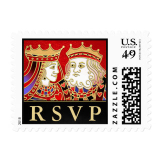 King & Queen Red & Black RSVP Postage Stamp