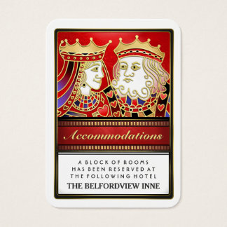 King & Queen Red Wedding Accommodations 2.5 x 3.5 Business Card
