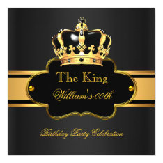 King Queen Royal Black Gold Birthday Men Or Women Card at Zazzle