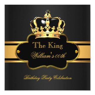 King Queen Royal Black Gold Birthday Men or Women Invitation