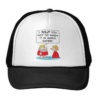 king queen shrink robe wash warm water trucker hat