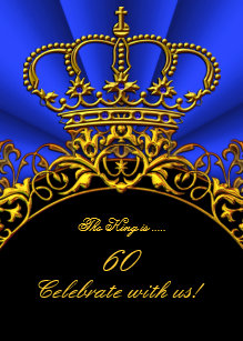 Mans Royal Blue Gold Birthday Invitations Zazzle