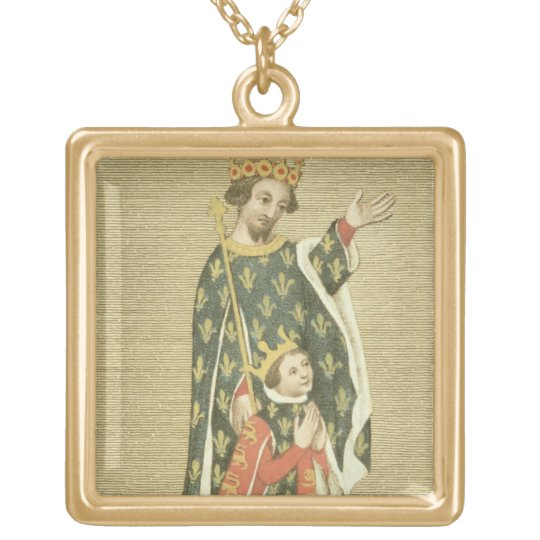 King Richard II (1367-1400) with his father Edward Gold Plated Necklace