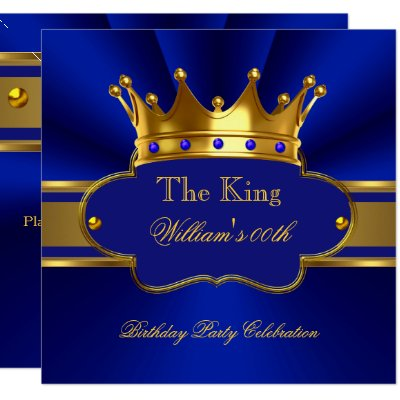 Mens Royal Blue And Gold Birthday Party Invitation