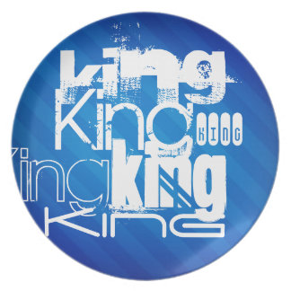 King; Royal Blue Stripes Plate