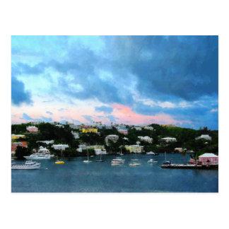 King s Wharf Bermuda Harbor Sunrise Postcard