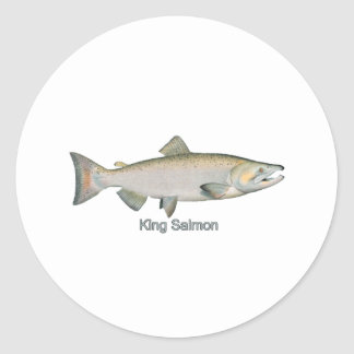 King Salmon (titled) Classic Round Sticker