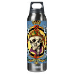 King Skull Pirate with Hearts by Al Rio 16 Oz Insulated SIGG Thermos Water Bottle