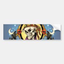 pirate, gothic, skull, skulls, skeleton, skeletons, crown, doves, al rio, military, hearts, king, city, urban, Bumper Sticker with custom graphic design