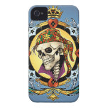 King Skull Pirate with Hearts by Al Rio Case-Mate iPhone 4 Cases