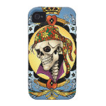 King Skull Pirate with Hearts by Al Rio iPhone 4/4S Cases