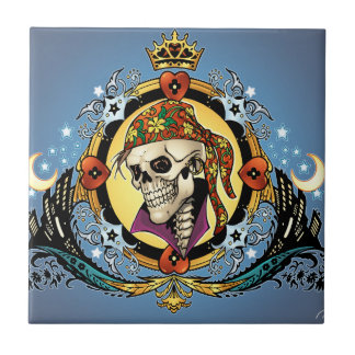 King Skull Pirate with Hearts by Al Rio Ceramic Tile